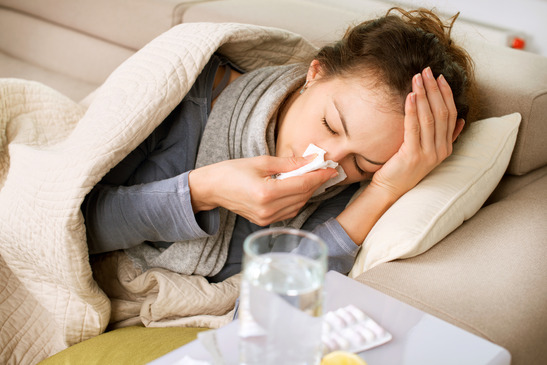 girl with cold or flu